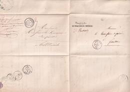 1856 - HAUT-RHIN - LETTRE En FRANCHISE ALLER Et RETOUR (ALTKIRCH / FERRETTE) Avec T15 - 1849-1876: Période Classique