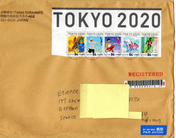 Cover Used Registered Letter From Japan To France 2021 OG Olympic Games Tokyo - Summer 2020: Tokyo