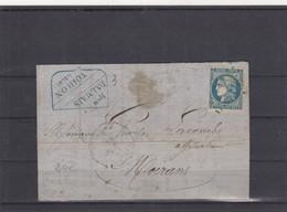 LETTRE. 10 MAI 1871. BORDEAUX 20c. CONVOYEUR STATION. VOIRON ISERE. LIGNE 224A. L.GR. DALMAIS VOIRON POUR MOIRANS - 1849-1876: Période Classique