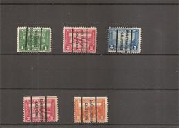 USA ( Lot De 5 Timbres Divers Préoblitérés De 1915 à Voir) - Vorausentwertungen