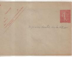FRANCE : ENTIER POSTAL . 10 Cts . TYPE SEMEUSE LIGNEE . ENV . IMPRESSION DECALEE . 1906 . - Standard- Und TSC-Briefe (vor 1995)