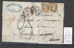 Lettre - Paris Pour Dijon Puis Paris Pour Grenoble - Taxé 30 Décimes -1861 - 1849-1876: Période Classique