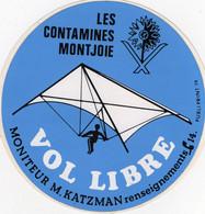 Autocollant  Les Contamines Montjoie   Vol Libre  Moniteur M Katzman   Delta Plane - Stickers