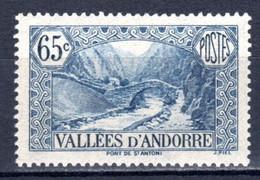 ANDORRA Französisch, 1938, Freimarke Landschaft, Postfrisch ** - Unused Stamps
