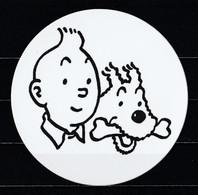 Autocollant Rond Tintin Et Milou De Hergé. - Stickers
