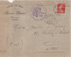 FRANCE : TYPE SEMEUSE . CHAMBRE DE COMMERCE DE MAUBEUGE . 1909 . - Storia Postale