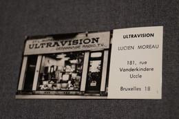 Ancienne Carte Photo Publicitaire Magasin,commerce TV,Ultravision à Uccle,10,5 Cm. Sur 5 Cm, Pour Collection - Advertising