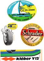 Lot De 7 Autocollants Le Val André , Michelin ZX ,Valves Schrader ,uniroyal , Raid Gauloises 1990 ,Ski Albiez  Le Vieux - Stickers