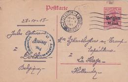 383-96Postkarte 28-10-1918 Luttich- Den Haag. Stempel: Auslandstelle Emmerich Freigegeben *XI.  A 30 In Kastje - Other Covers