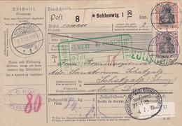 383-147  Paketkarte 3-7-1912 Schleswig- Schatzalp (Suisse). Stempel: Postzollamt Basel B.I. Zollfrei. Bahnpost - Lettres & Documents