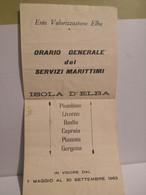 Italia Depliant Orario Generale Servizi Marittimi ISOLA D'ELBA Pianosa Capraia Piombino Gorgona Livorno Bastia 1969 - Europa