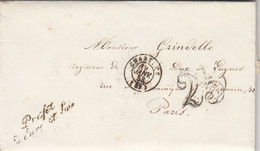 LETTRE. 19 JANV 53. FRANCHISE PREFET D'EURE-ET-LOIR. CHARTRES POUR PARIS. TAXE TAMPON 25. SOUSCRIPTION CHEMIN VICINAL - 1849-1876: Période Classique