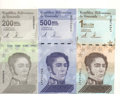 VENEZUELA  Set New 3 Highest Denoms.  200'000-500'000-1'000'000 Bolivares  Dated 3.9.2020.   UNC. - Venezuela