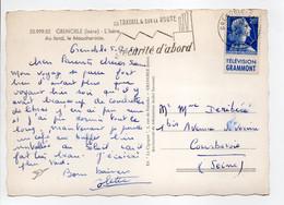 - Carte Postale GRENOBLE Pour COURBEVOIE 5.8.1959 - 20 F. Bleu Marianne De Muller + Publicité TÉLÉVISION GRAMMONT - - Advertising
