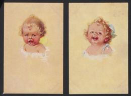 2 CPA * BEBE QUI PLEURE ET BEBE QUI RIT * CRYING AND LAUGHING BABY * PRIMUS * - Disegni Infantili