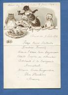 Menu Illustrateur Chat Cat Katze 1894 Manuscrit Repas Chat Humanisé éventail Anthropomorphisme - Menus