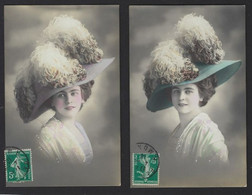 2 CPA *  JEUNE FEMME RAVISSANTE AVEC JOLIE CHAPEAU * COULEURS * 1905 * VOIR SCANS - Donne