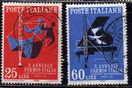 ITALIA REPUBBLICA ITALY REPUBLIC 1958 PREMIO ITALIA PRIZE SERIE COMPLETA COMPLETE SET USATA USED OBLITERE' - 1946-60: Afgestempeld