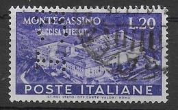 1951 - MONTECASSINO LIRE 20 - PERFIN (B C I ) ( BANCA COMMERCIALE ITALIANA - RAVENNA) - 1946-60: Afgestempeld