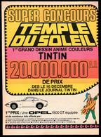 Tintin : 1 Publicité TINTIN De 1969 Avec Bon Pour Une 2ème Réponse à La Question Subsidiaire( Voir Photos ). - Advertising