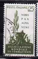 ITALIA REPUBBLICA ITALY REPUBLIC 1959 ASSOCIAZIONE MONDIALE EX-COMBATTENTI WORLD ASSOCIATION VETERANS 25L USATO USED - 1946-60: Afgestempeld