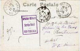 "CTN70 - TUNISIE CPA CARTHAGE EN FM TUNIS 15/7/1916 CACHET ""AVIATION MILITAIRE SERVICE POSTAL SUD TUNISIEN"" - Brieven En Documenten"