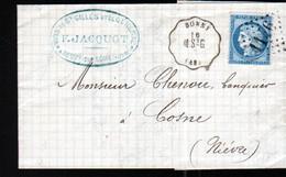 Convoyeur De Station Bonny, Ligne 280, Montargis à St Germain Des Pres Sur Lettre De Neuvy Sur Loire (Nievre) - 1849-1876: Période Classique