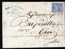 Convoyeur De Station Bonny, Ligne 280, Montargis à St Germain Des Pres Sur Lettre De Briare - 1849-1876: Période Classique
