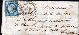 1876, Loiret, Convoyeur De Station Chilleurs Montigny, Ligne 286, Orleans à Malesherbe Sur Lettre De Chilleurs - 1849-1876: Période Classique