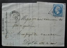 Napoléonville 1864 Morbihan GC 2609 Robo Jeune, Lettre Pour Les Forges Du Vaublanc - 1849-1876: Période Classique