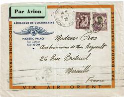 CTN70 - INDOCHINE LETTRE AVION A EN-TÊTE AERO CLUB DE COCHINCHINE - MYTHO / MARSEILLE 8/7/1933 - Briefe U. Dokumente