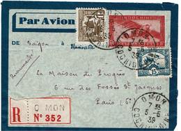 CTN70 - INDOCHINE ENVELOPPE AVION 36c+ COMPL.TS O MON / PARIS 5/5/1939 - Briefe U. Dokumente