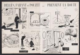 Pub Papier 1964 Double Page Humour Illustrateurs Bellus Faizant Et Pouzet Prennent La Route Vacances Train Caravanne - Advertising