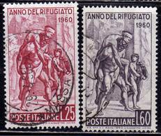 ITALIA REPUBBLICA ITALY REPUBLIC 1960 ANNO DEL RIFUGIATO REFUGGE YEAR SERIE COMPLETA COMPLETE SET USATA USED OBLITERE' - 1946-60: Afgestempeld