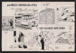 Pub Papier 1964 Double Page Humour Illustrateurs Bellus Reiser Gad Et Paul Les Vacances Sont Finies - Advertising