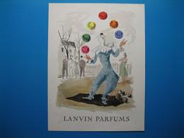 (1956) LANVIN PARFUMS - 6 Parfums Présentés Par Le Clown Jongleur (document N° 5/16) - Advertising