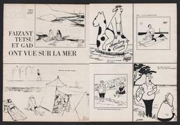 Pub Papier 1964 Double Page Humour Illustrateurs Faizant  Testu Et Gad Vue Sur La Mer - Advertising