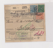 GERMANY 1922 LEIPZIG LINDENAU  Nice Parcel Card To Switzerland - Covers & Documents