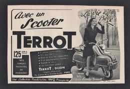 Publicité Papier 1954  Scooter  TERROT Dijon 21 Cote D'or Moto Cyclomoteur Motocyclette Dijonnaise Scooters - Advertising
