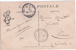 ALGERIE - 1908 - CACHET RARE De BORDJ MEDJANA (CONSTANTINE) Sur CARTE => VIVARIO (CORSE) - 1849-1876: Période Classique
