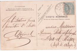 ALGERIE - 1905 - CACHET RARE De AOMAR (ALGER) Sur CARTE => DRA EL MIZAN - 1849-1876: Période Classique