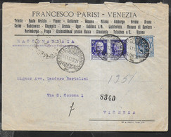 RACCOMANDATA 2 PORTI INTESTATA FRANCESCO PARISI DA VENEZIA 14.11.29- PERFIN (F. P.) PER VICENZA - Storia Postale