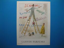 (1951) LANVIN PARFUMS - 6 Parfums Présentés Par Le Peintre Sur Son échelle Double (document N° 12/16) - Advertising