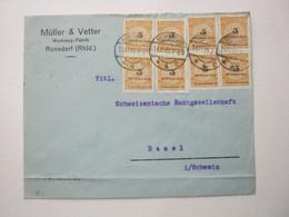 1923 , Brief Aus RONSDORF Nach Zürich Mit Mehrfachfrankatur - Covers & Documents