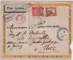 INDOCHINE - 1933 - CACHET BLEU ! De SAÏGON + GRIFFE SAÏGON-MARSEILLE Sur ENVELOPPE AIR-ORIENT => NICE - Briefe U. Dokumente