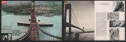 Reportage Photo 6 Pages 1964 Paquebot FRANCE Inaugure Le Plus Grand Pont Du Monde Verrazano Histoire Construction New Y - Advertising