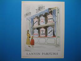 (1950) LANVIN PARFUMS - 6 Parfums Présentés Dans Les Grands Pots (document N° 16/16) - Advertising