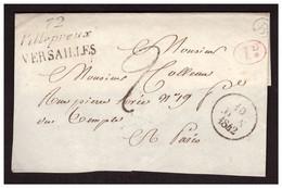 Marque Postale Double 72 VILLEPREUX  VERSAILLES Du 10 Juin 1842 Sur Devant De Lettre - 1801-1848: Precursors XIX