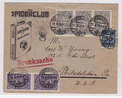"""Deutsches Reich Drucksache Vom """"The Spiderclub"""" Nach Philadelphia USA - Covers & Documents"""