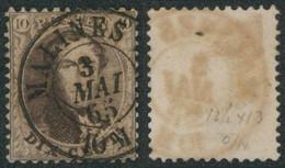 """Médaillon Dentelé - N°14 Obl Double Cercle """"Malines"""" (1865) - 1863-1864 Medaillons (13/16)"""
